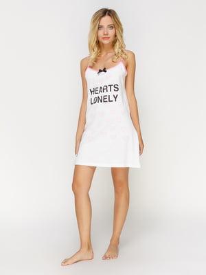 Рубашка ночная белая с принтом | 4611180