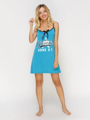 Рубашка ночная голубая с принтом | 4611184
