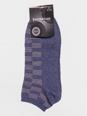 Шкарпетки темно-сині в шаховий малюнок | 4590729