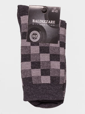 Шкарпетки темно-сірі в шаховий малюнок | 4590737