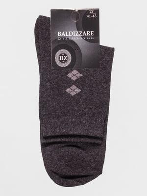 Шкарпетки темно-сірі з малюнком | 4590723