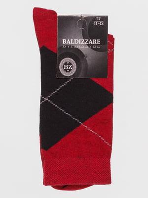 Шкарпетки бордові в ромби | 4590714