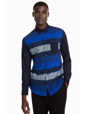 Сорочка темно-синя в смужку | 4562079