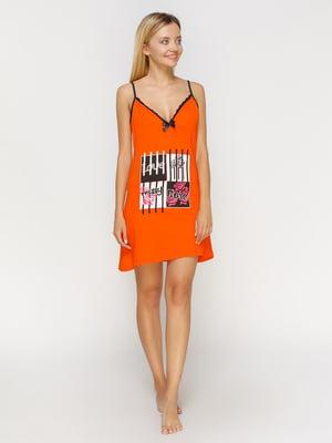Рубашка ночная оранжевая с принтом | 4611185
