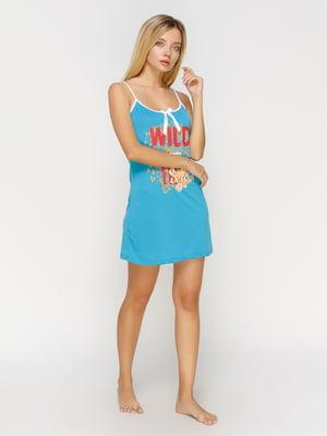 Рубашка ночная голубая с принтом | 4611193