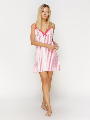 Рубашка ночная белая с цветочным принтом | 4611197