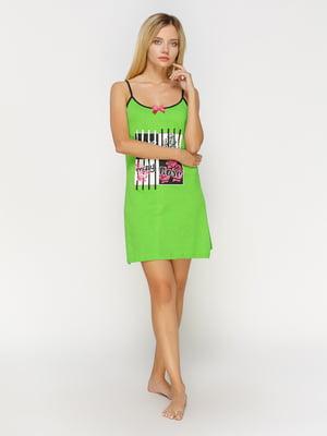 Рубашка ночная зеленая с принтом | 4611186