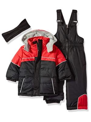 Комплект зимовий: куртка, пов'язка на голову і комбінезон | 4628368