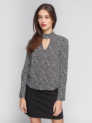 Блуза чорна в принт | 4599574