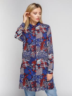 Блуза темно-синяя в принт | 4602907