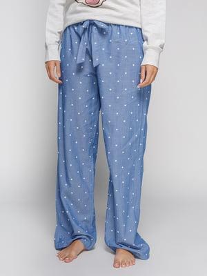 Брюки синие в мелкий принт пижамные | 4596895