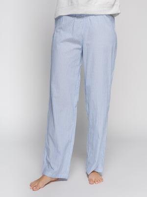Брюки голубые в полоску пижамные | 4596780