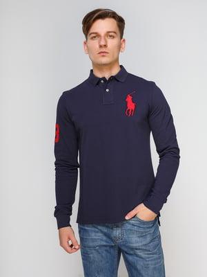Джемпер-поло темно-синий с вышивкой | 4622581