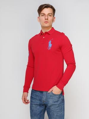 Джемпер-поло красный с вышивкой | 4622582
