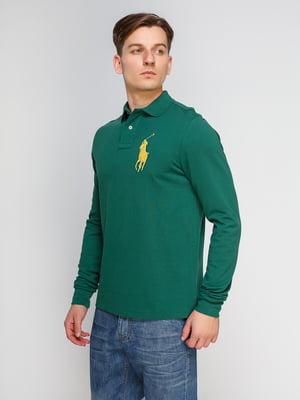 Джемпер-поло зеленый с вышивкой | 4622579