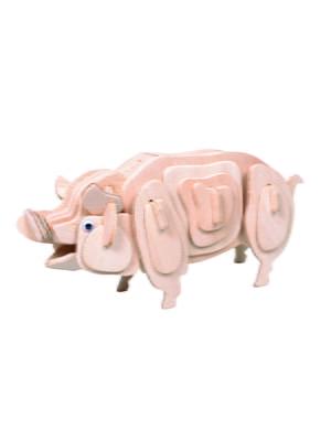 Збірна модель з дерева, 3D пазл «Свиня» (серія М) | 4635104