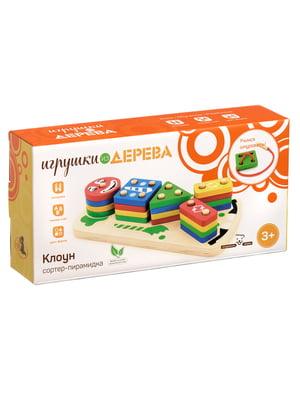 Дерев'яна іграшка «Клоун» сортер-пірамідка | 4635254