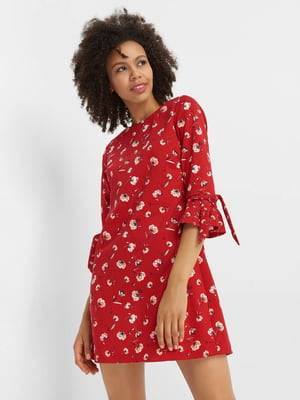 Платье красное в цветочный принт | 4580486