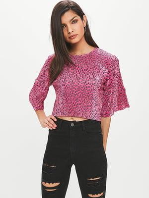 Блуза цвета фуксии в принт   4642934