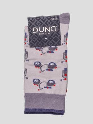 Шкарпетки світло-сірі в принт | 4568356