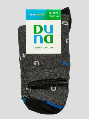 Шкарпетки темно-сірі в принт | 4568363