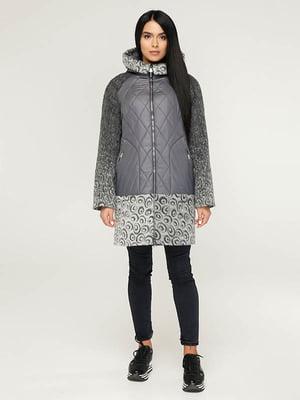 Пальто сіре з принтом   4643508