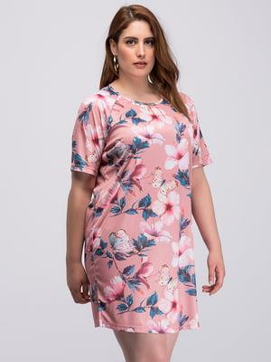 Сукня персикового кольору в квітковий принт | 4598764