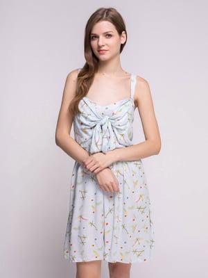 Сукня блакитна у принт | 4647665