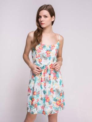 Платье белое в принт | 4647684