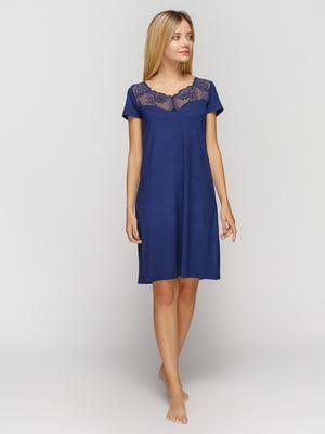 Рубашка ночная синяя | 4631485