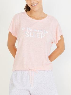 Футболка розовая пижамная | 4519330