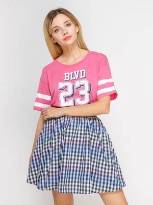 Футболка рожева з принтом | 4627383