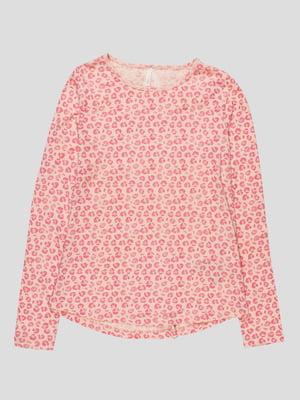 Лонгслів рожевий в принт | 4621733