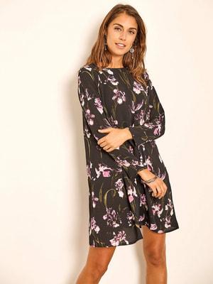 Сукня чорна з квітковим принтом | 4652557