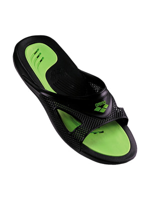 Шльопанці чорно-зелені | 4651303