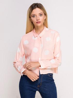 Сорочка пудрового кольору в горошок | 4626174