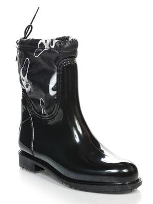 Сапоги черные с принтом | 3555753