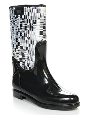 Сапоги черно-белые с принтом | 2128153