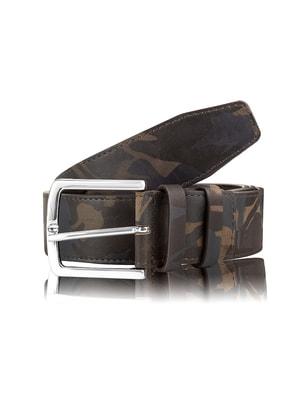 Ремінь кольору хакі в камуфляжний принт (115 см) | 4672935