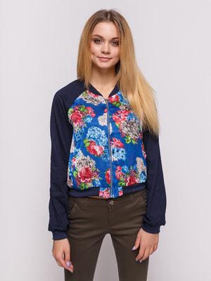 Бомбер синій з квітковим принтом | 4626923