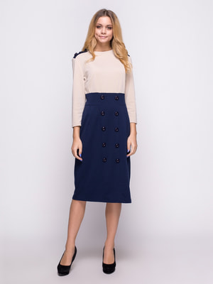 Платье бежево-синее | 4658442