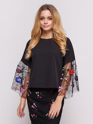Блуза чорна з вишивкою | 4673307