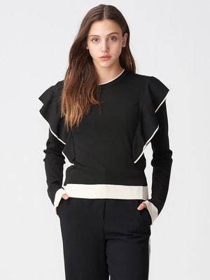 Джемпер чорний з оздобленням молочного кольору | 4686033