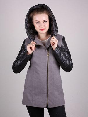 Пальто сиренево-черное | 4690591
