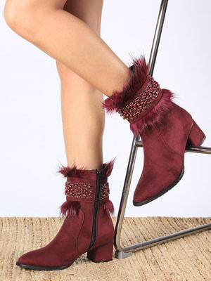 Ботинки бордовые | 4690974