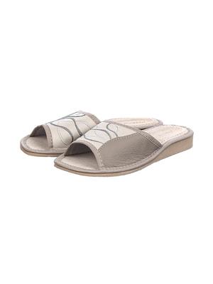 Тапочки сіро-молочного кольору | 4692038