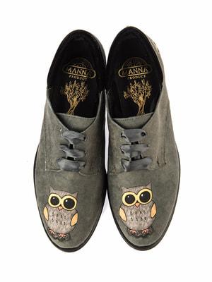 Туфли цвета хаки с принтом   4691744