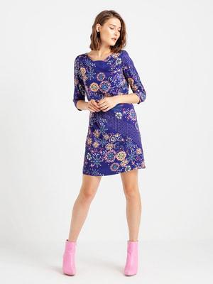 Сукня темно-фіолетова в квітковий принт | 4690812