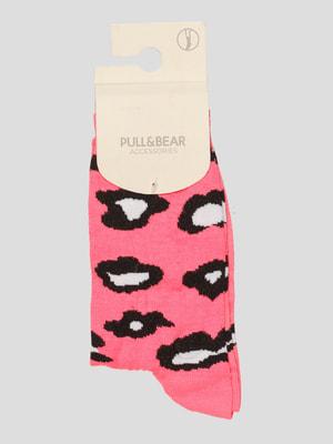 Носки розовые в принт | 4646977