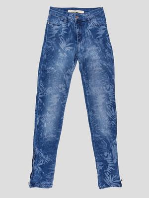 Джинсы синие с принтом | 4643324